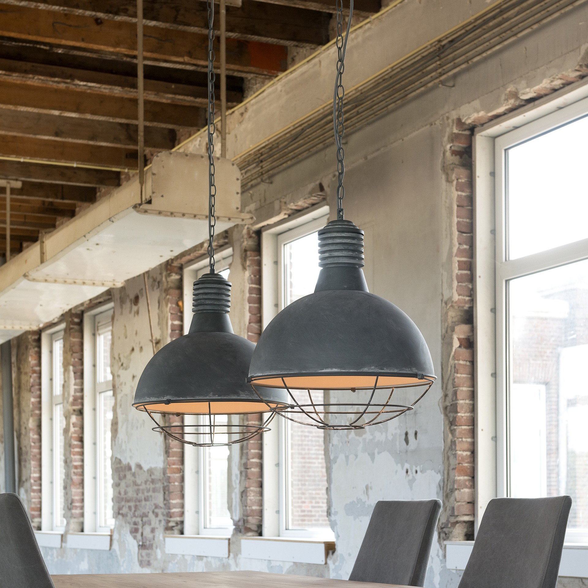 Pendelleuchte grau Metall,  Industrie Lampe grau, Hängelampe grau, Durchmesser 41 cm