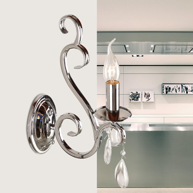 Wandleuchte Silber 1-armig, klassische Wandlampe verchromt
