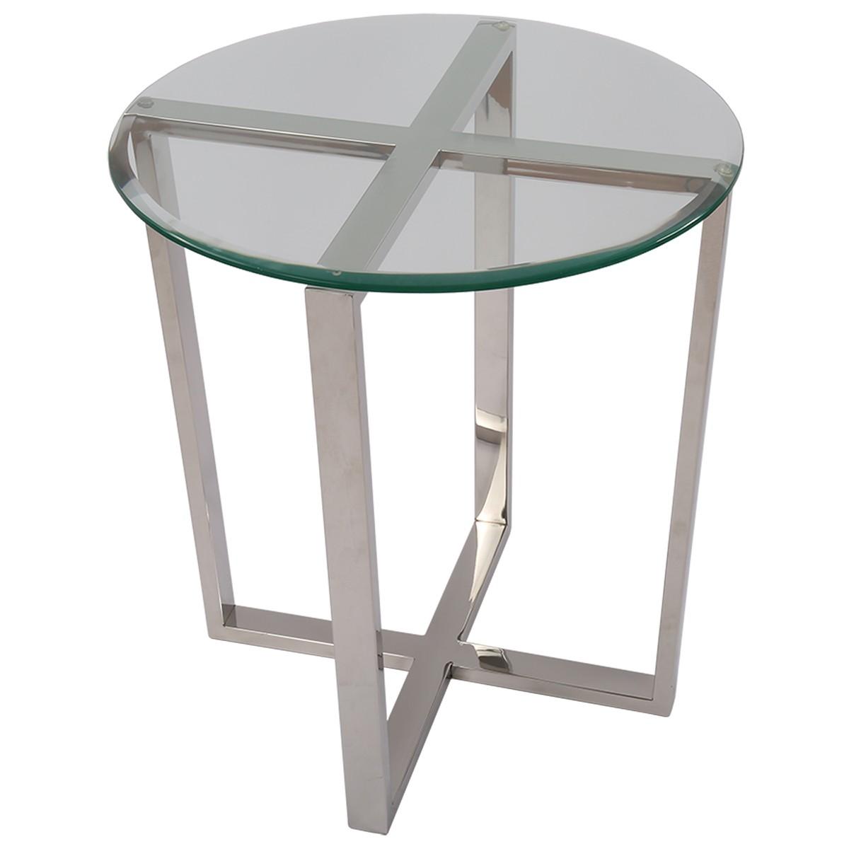 Beistelltisch rund Glas-Metall, Tisch Glas verchromt Metall, Höhe 61 cm
