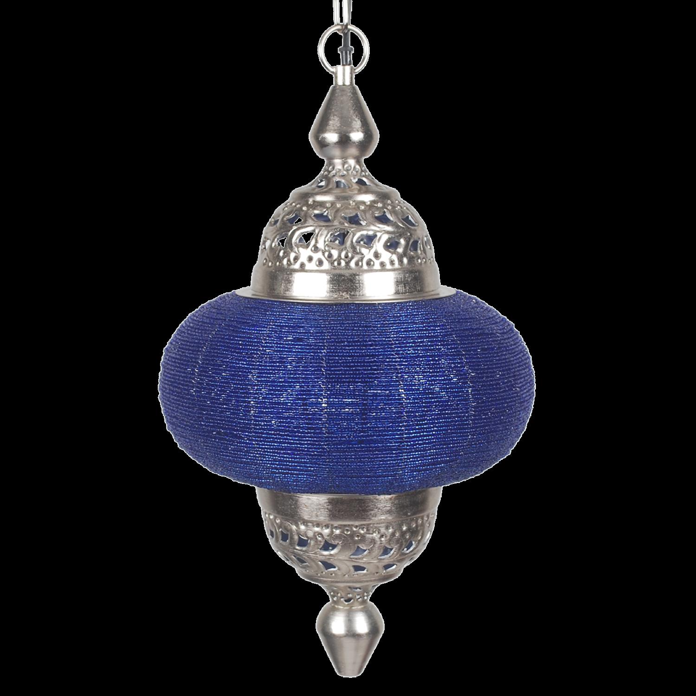 Orientalische Pendelleuchte blau -Silber, arabische Hängelampe blau, Durchmesser 25 cm