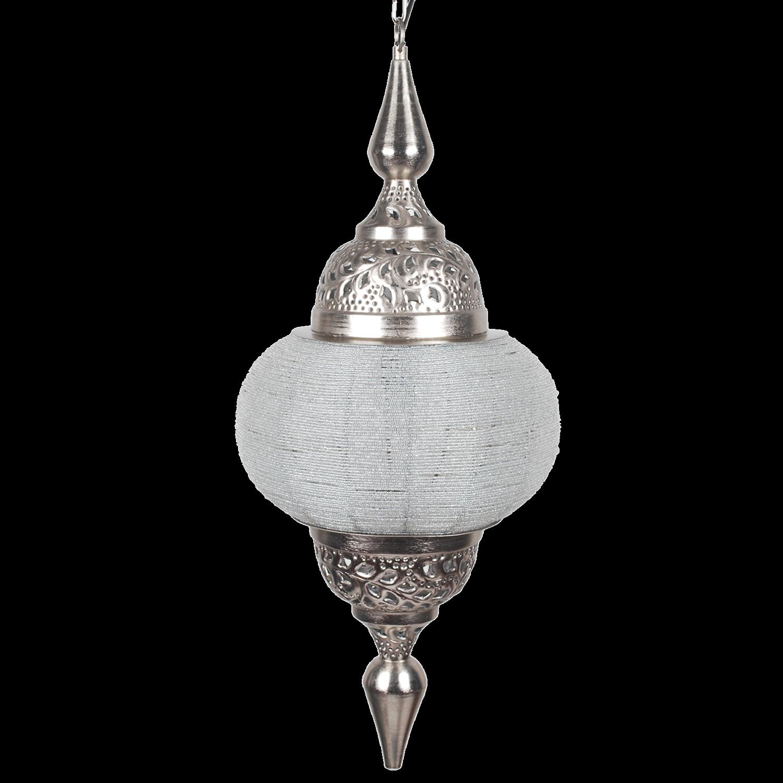 Orientalische Pendelleuchte weiß -Silber, arabische Hängelampe weiß, Durchmesser 33 cm