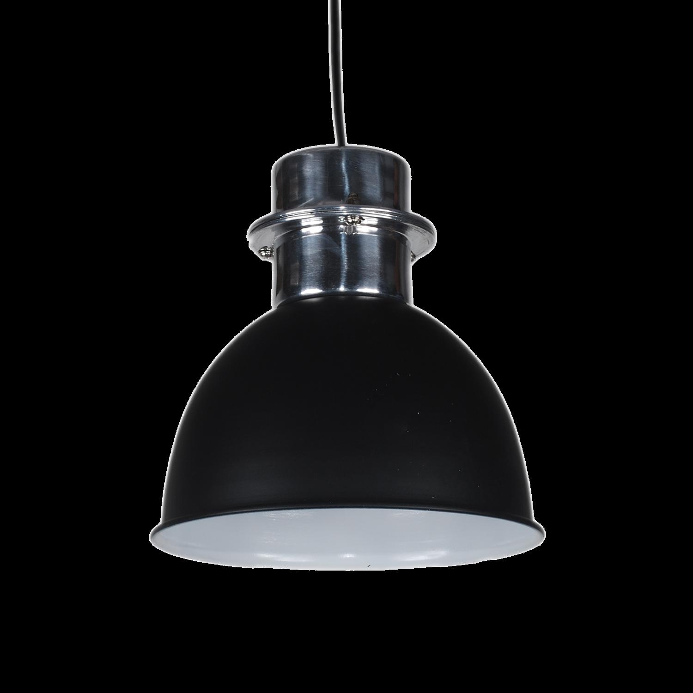 Pendelleuchte schwarz matt, Hängelampe Metall schwarz-Silber, Durchmesser 20 cm