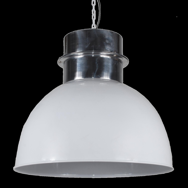 Pendelleuchte weiß glanz Metall, Hängelampe Metall weiß, Durchmesser 30 cm