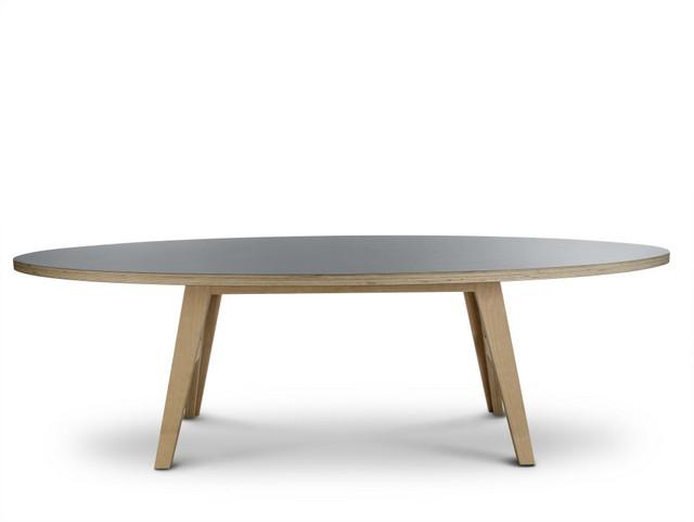 Ovaler Designtisch, Farbe grau
