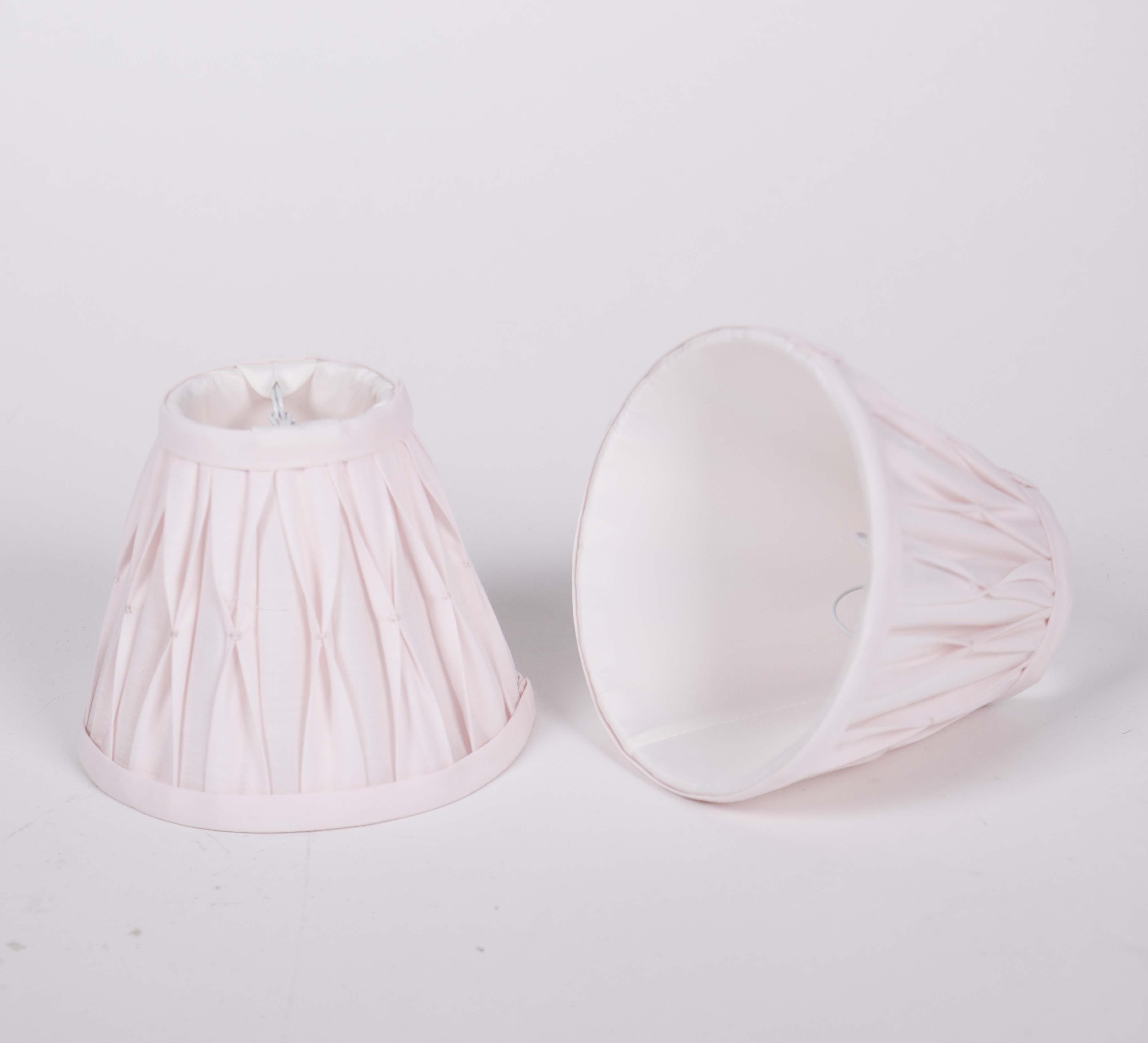 KIemmschirm Farbe rosa, Lampenschirm für Kronleuchter, Form rund Ø 14 cm