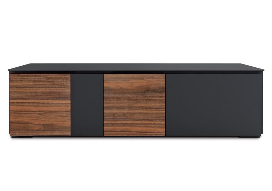 Lowboard schwarz-walnuss, TV Schrank mit vier Türen, 180 cm