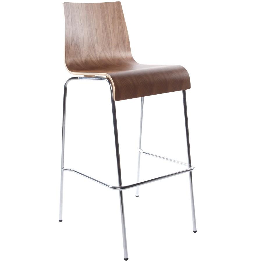 Barstuhl braun-walnuss stapelbar, Barhocker braun stapelbar Metall, Sitzhöhe 74 cm