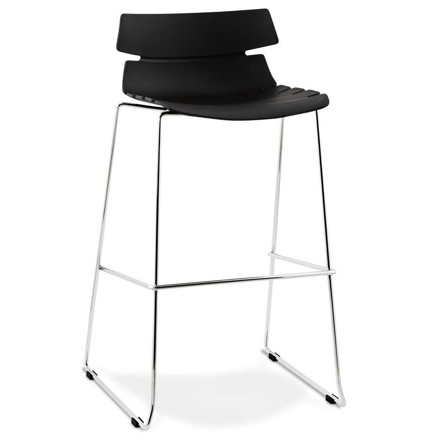 Barstuhl schwarz stapelbar , Barhocker stapelbar Metall Kunststoff, Sitzhöhe 77 cm