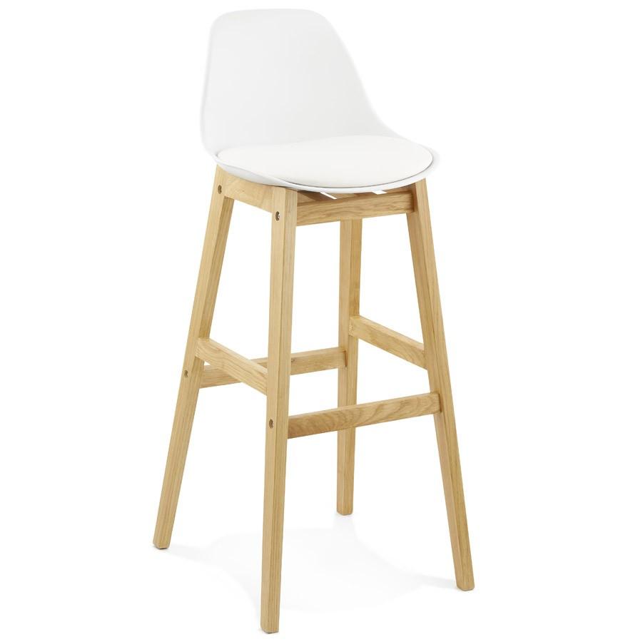 Barstuhl weiß gepolstert, Barstuhl Massivholz-Gestell, Sitzhöhe 79 cm