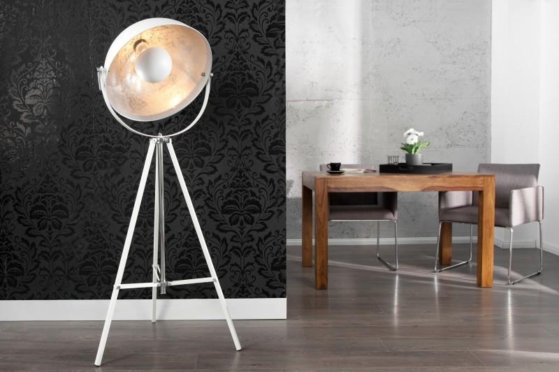 Stehleuchte Spot weiß-silber, Stehlampe weiß Industrie
