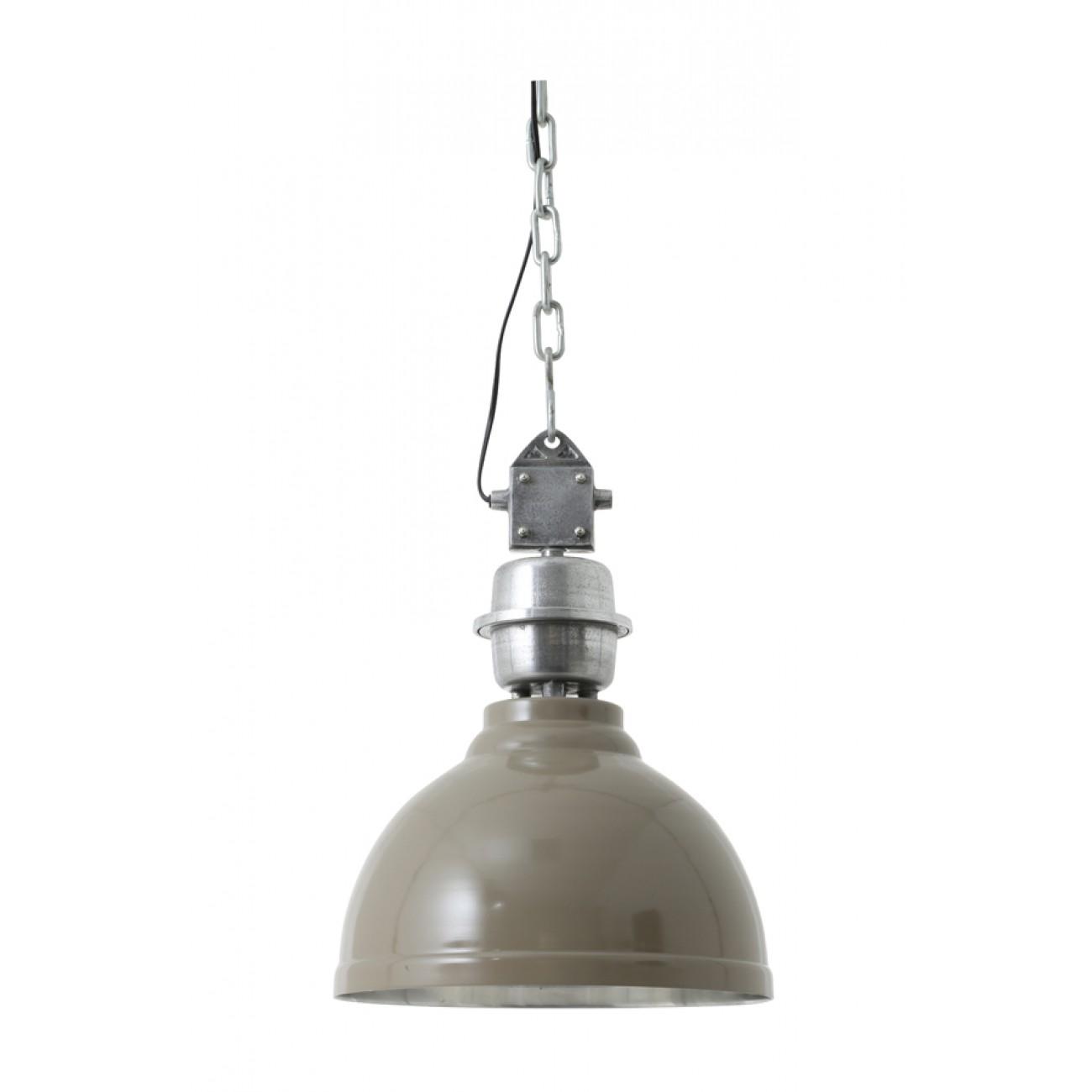 Pendelleuchte grau-taupe im Industriedesign, Hängeleuchte grau, Durchmesser 35 cm