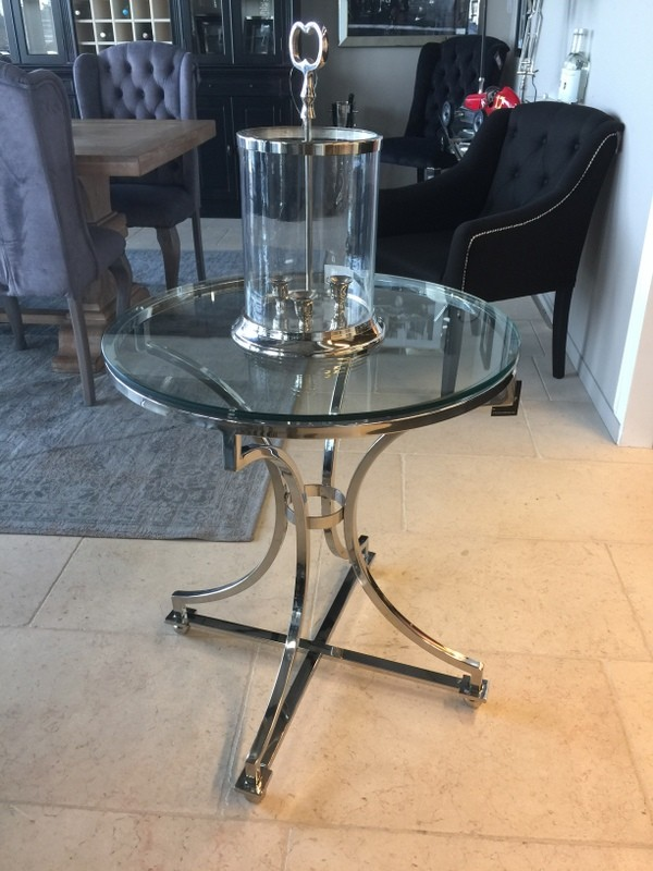 Tisch rund silber Glas-Metall, Beistelltisch rund verchromt Metall und Glas, Durchmesser 65 cm