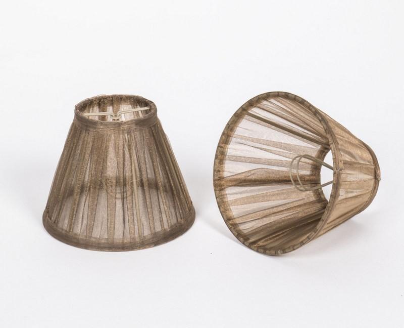 KIemmschirm Organza Gold/Braun, Lampenschirm für Kronleuchter, Form rund Ø 14 cm