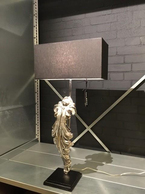 Tischleuchte mit Lampenschirm schwarz, Tischlampe verchromt, Höhe 70 cm