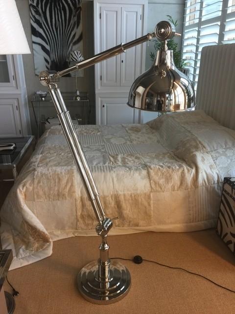 Stehlampe Landhaus, verchromte Stehleuchte, Stehlampe verchromt Landhausstil