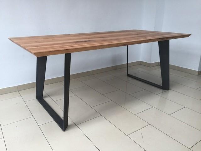 esstisch eiche tischplatte tisch massiv eiche gestell metall ma e 220 x 100 cm. Black Bedroom Furniture Sets. Home Design Ideas