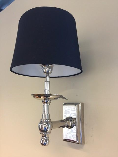 Wandlampe verchromt mit Lampenschirm schwarz, Wandleuchte verchromt mit Lampenschirm