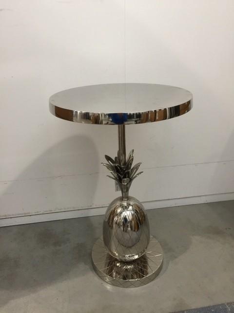 Beistelltisch Ananas Silber,  Metall Beistelltisch Silber, Ø 45 cm