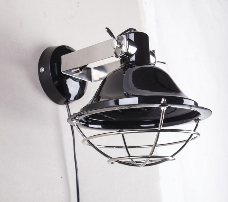 Wandleuchte rund, Farbe Schwarz-Chrom, Ø 33 cm