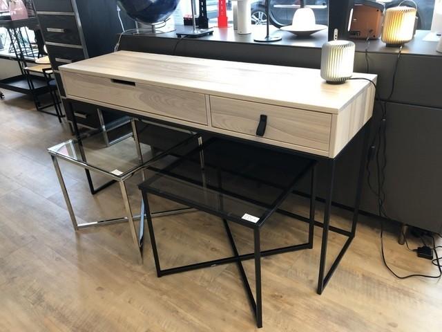 Schreibtisch Naturholz, Konsole Holz Metall, Wandkonsole, Wandtisch Holz Metall Gestell, Breite 140 cm