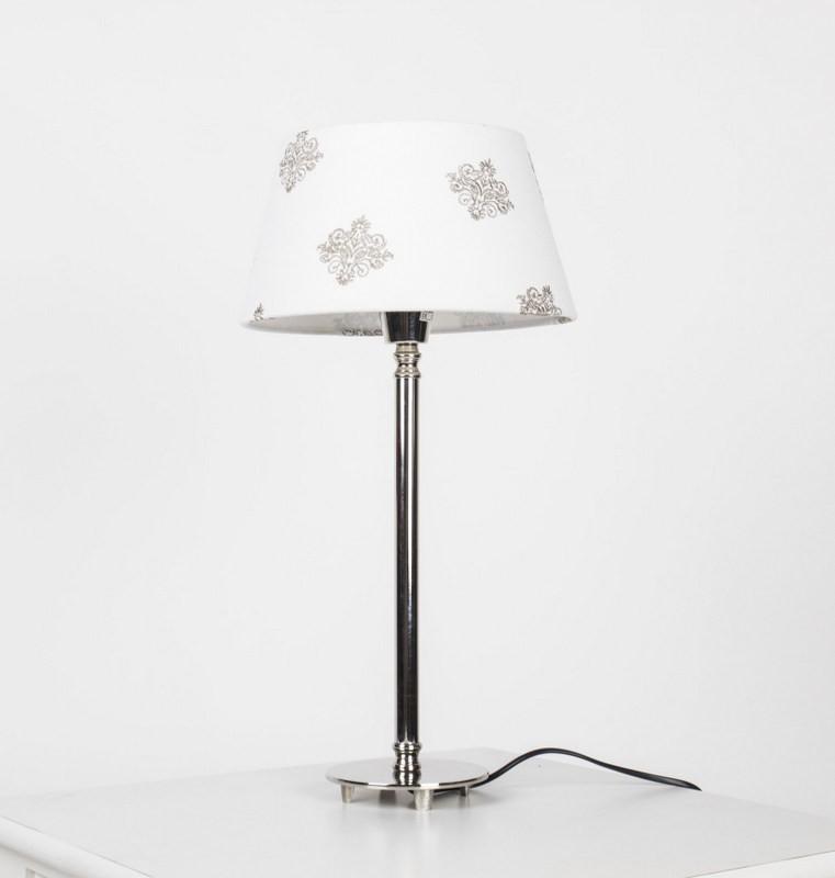 Tischleuchte mit  Lampenschirm Weiß mit Muster Tischlampe verchromt,  Höhe 51 cm