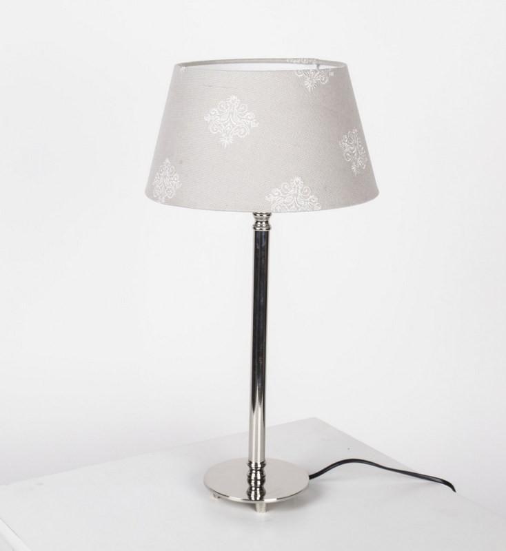 Tischleuchte mit  Lampenschirm Taupe mit Muster Tischlampe verchromt,  Höhe 51 cm
