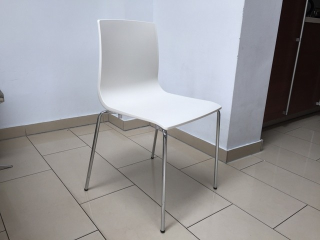 Design Stuhl weiß-leinen, Stuhl stapelbar weiß