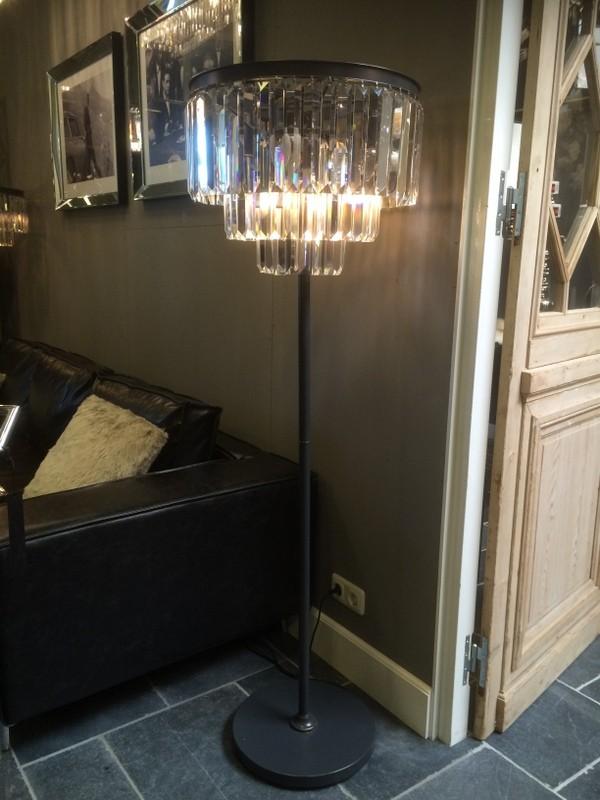 Stehlampe anthrazit-transparten, Stehleuchte Metall-Glas