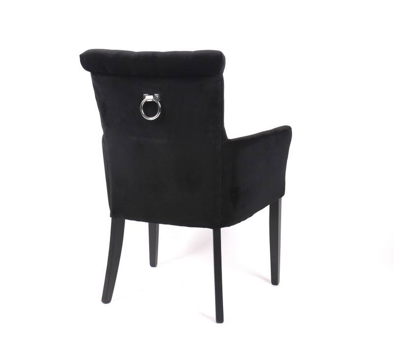 Gepolsterter Stuhl mit Armlehne, Stuhl gepolstert Farbe schwarz
