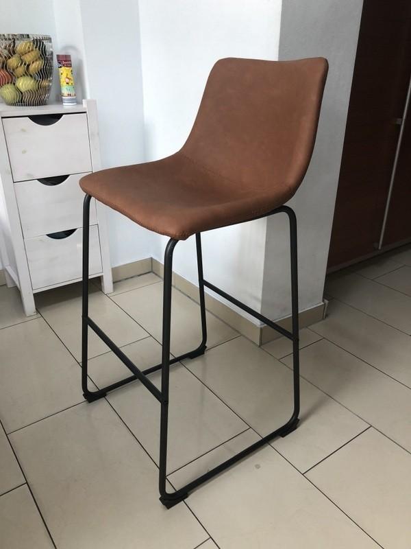 Barstuhl braun Metall, Barhocker braun Metall, Sitzhöhe 73 cm