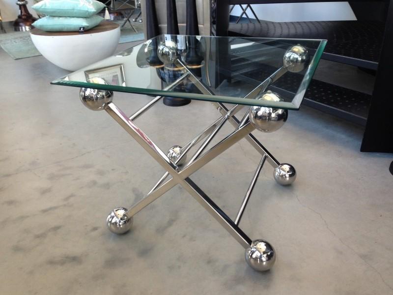 Beistelltisch  Glas-Metall, Tisch Glas verchromt Metall, Höhe 62 cm