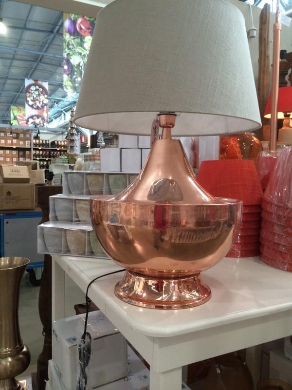 Tischlampe Farbe Kupfer mit Lampenschirm Leinen-Grau, Tischleuchte, Farbe Kupfer, Höhe ca. 80 cm