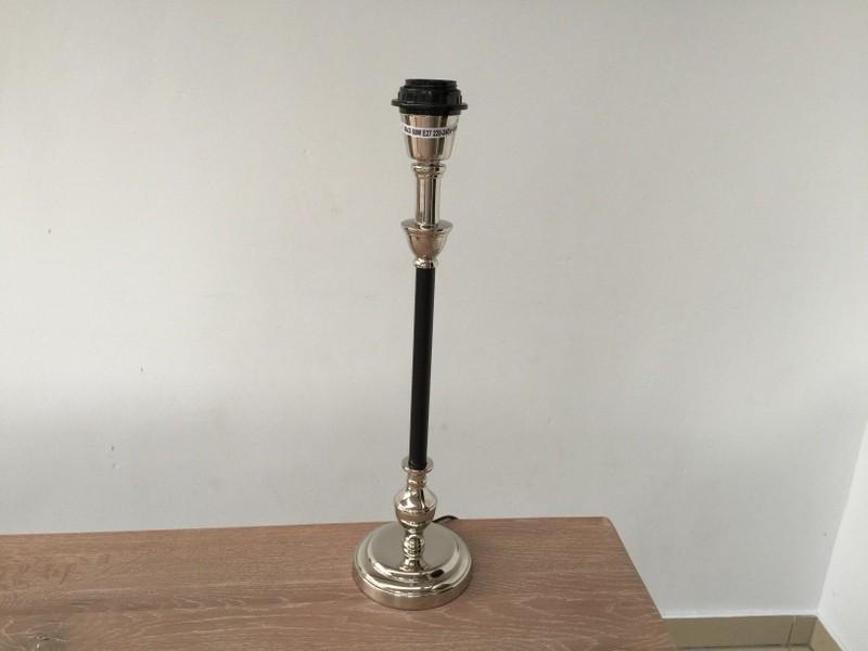 Tischleuchte schwarz-chrome, Tischlampe verchromt-schwarz, Höhe 44 cm