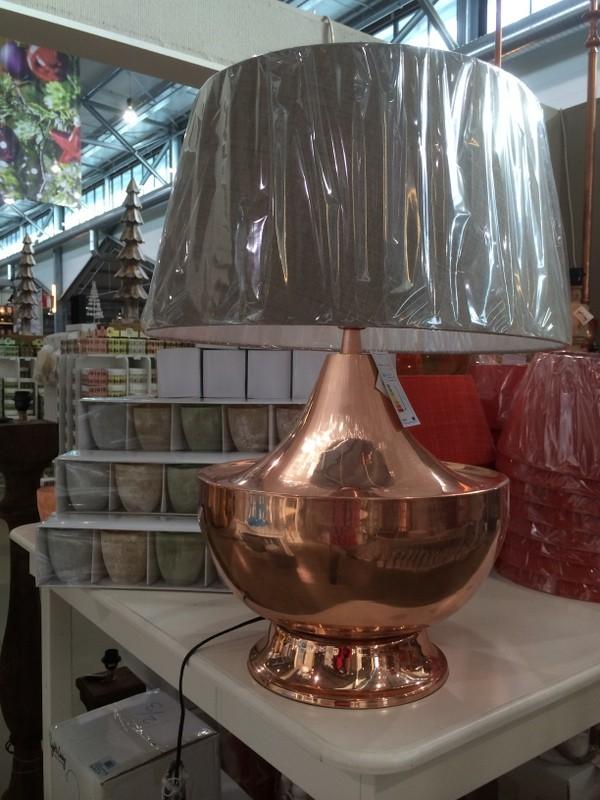 Tischlampe Farbe Kupfer mit Lampenschirm Grau, Tischleuchte, Farbe Kupfer, Höhe ca. 80 cm