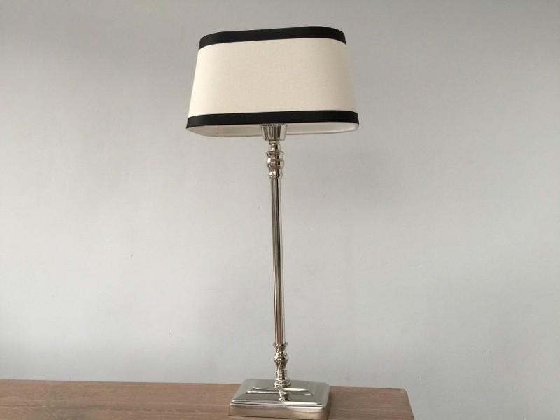 Tischleuchte mit Lampenschirm schwarz weiß,  Tischlampe verchromt, Höhe 57 cm