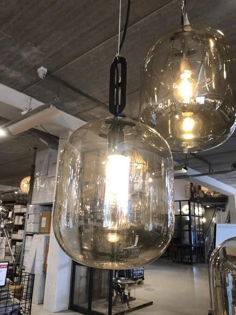 Pendelleuchte transparent-braun, moderne Hängelampe, Pendellampe Glas