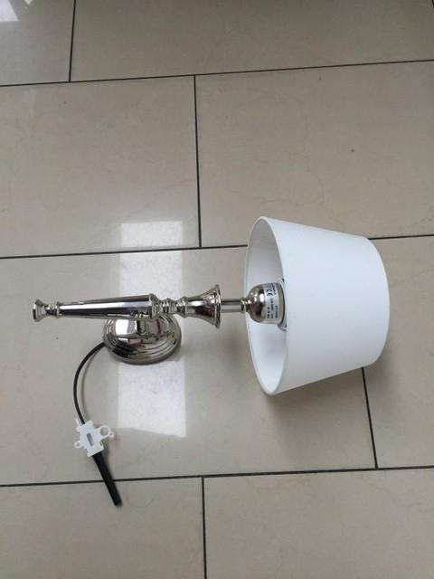 Wandleuchte verchromt Lampenschirm weiß, Wandlampe silber mit Lampenschirm