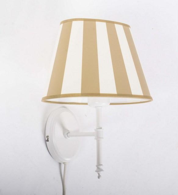 Wandleuchte weiß-beige mit Lampenschirm, Wandlampe Lampenschirm gestreift