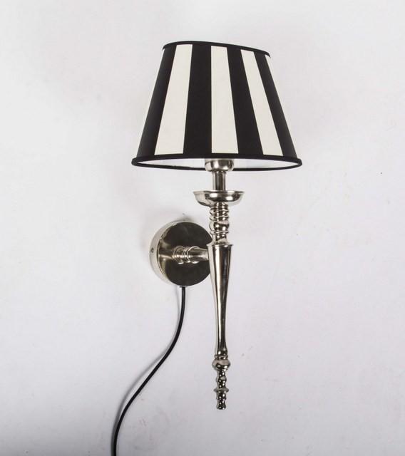 Wandleuchte weiß-schwarz mit Lampenschirm, Wandlampe Silber mit Lampenschirm