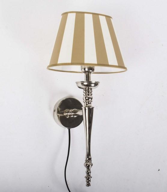 Wandleuchte mit Lampenschirm beige-weiß, Wandlampe Silber mit Lampenschirm