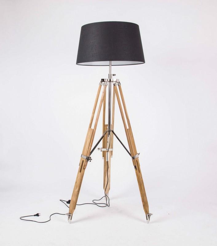 Stehleuchte höhenverstellbar im Landhausstil, Dreibein Stehlampe mit einem Lampenschirm, Höhe 103-200 cm
