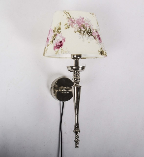 Wandleuchte mit Lampenschirm, Wandlampe Silber mit Lampenschirm