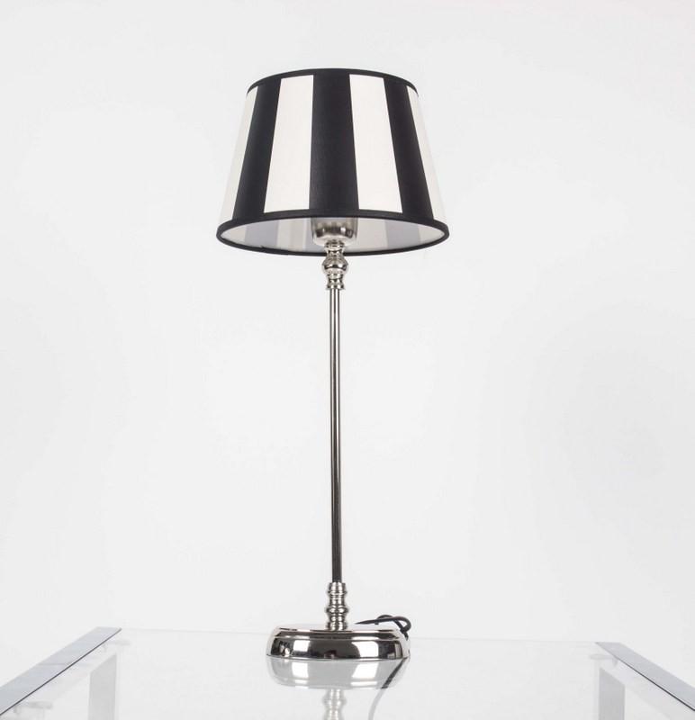 Tischlampe mit Lampenschirm / Weiß-Schwarz, Tischlampe verchromt, Höhe 50 cm