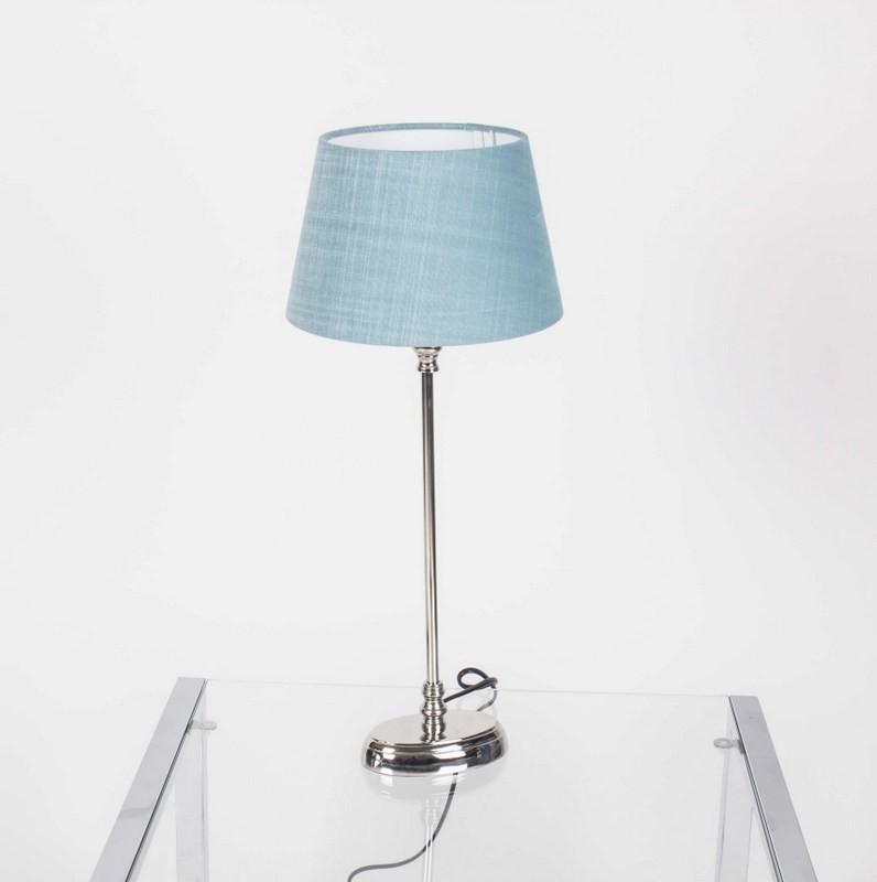 Tischlampe mit Lampenschirm Farbe türkis, Tischlampe verchromt, Höhe 50 cm