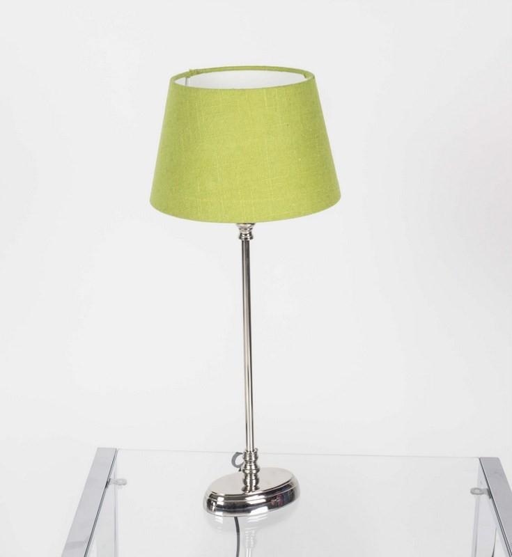 Tischlampe mit Lampenschirm Farbe grün, Tischlampe verchromt, Höhe 50 cm