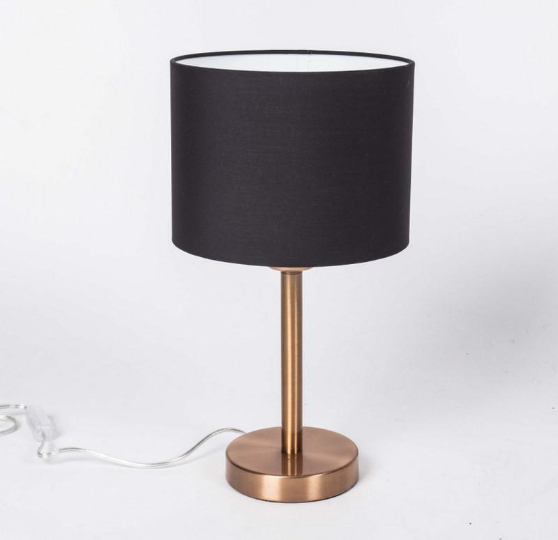 Tischleuchte mit Lampenschirm schwarz, Tischlampe Farbe Kupfer,  Höhe 36 cm