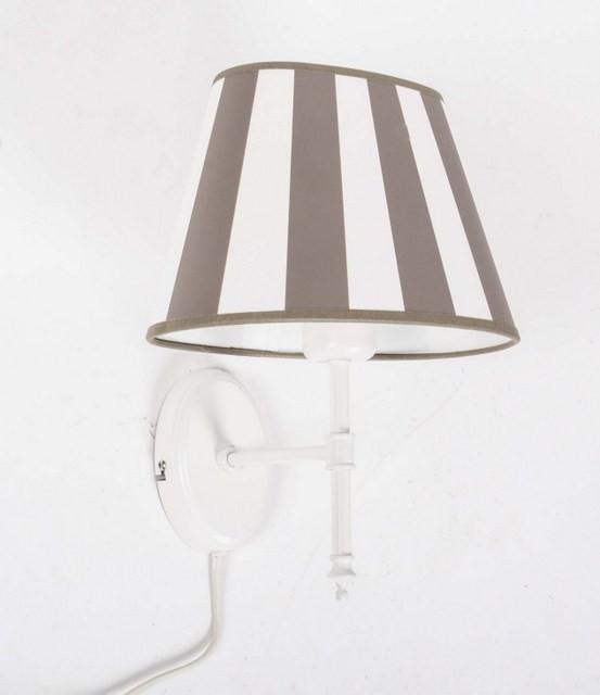 Wandleuchte silber mit Lampenschirm gestreift, Wandlampe Lampenschirm taupe-weiß