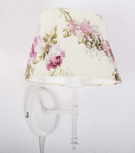 Wandleuchte weiß mit Lampenschirm, Wandlampe Lampenschirm Blumen