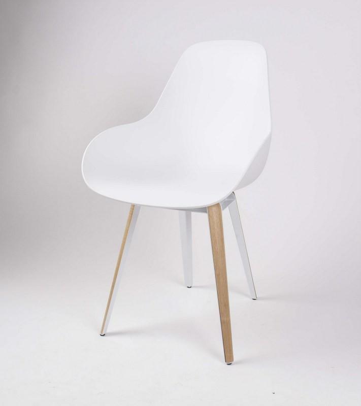 Design Stuhl weiß mit Holzelementen