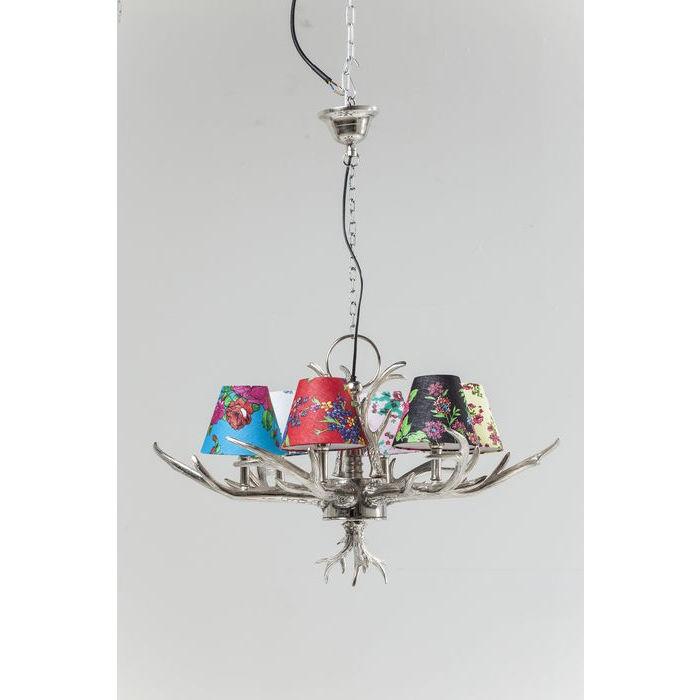Kronleuchter mit Lampenschirmen, Hängelampe Silber, Durchmesser 75 cm